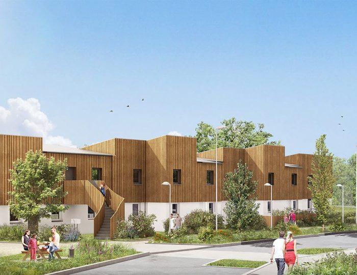 Vue 3D du futur quartier Woodlife.