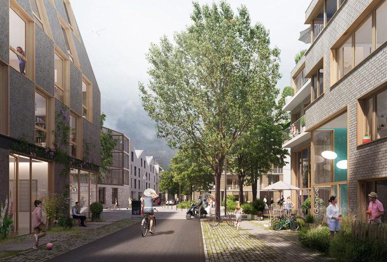 Vue 3D du programme immobilier Senior République, un projet d'habitat participatif.