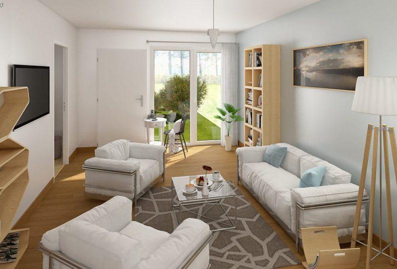 Maisons Les Sorinières : vue 3D du programme Woodlife.